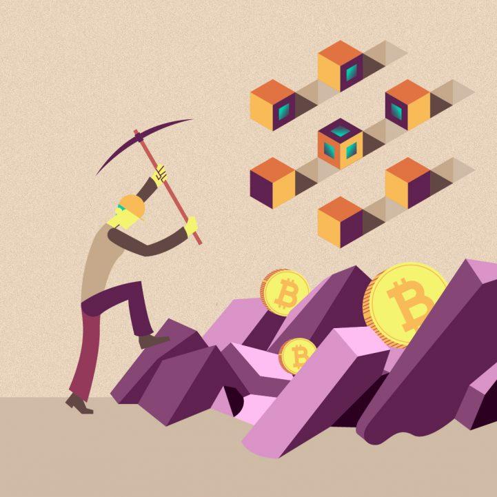 hombre minado blockchain